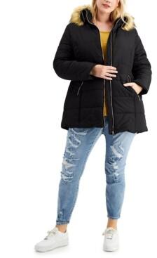 Maralyn & Me Trendy Plus Size Faux-Fur-Trim Hooded Puffer Coat