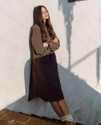 Beaumont Organic AW20 - Bridget Organic Cotton Dress In Brown Marl - Brown Marl / Extra Small