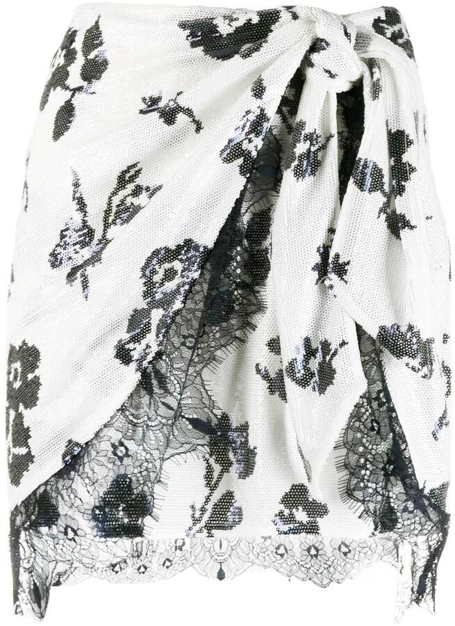 Self-Portrait Sequin Wrap Skirt