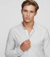Reiss Reiss Hanns - Cotton Grandad Collar Shirt In Grey, Mens