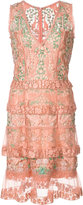 Marchesa floral sheer layered dress - women - Polyester - 0