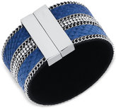 GUESS Silver-Tone Blue Faux Suede Magnetic Wrap Cuff Bracelet