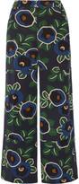 Tory Burch Jacinta Floral-print Silk Crepe De Chine Wide-leg Pants - Navy