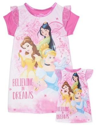 Disney Princess Toddler Girls Matching Doll & Me Short Sleeve Nightgown Pajamas, 2pc Gift Set (2T-4T)