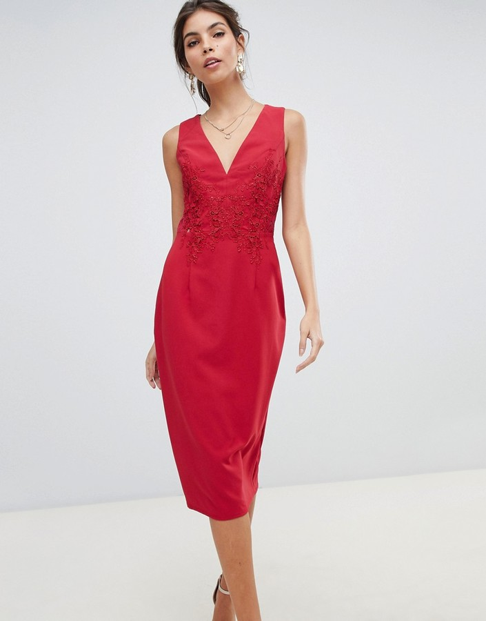 Little Mistress midi bodycon dress with floral applique and lace back-Red