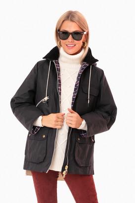BARBOUR X ALEXA CHUNG Alexa Chung Navy Tartan Violet Wax Jacket
