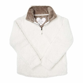 Pavilion Gift Company Pavilion - Livin' The Cozy Life - XXLarge Women's Warm Cozy Sherpa House Sweatshirt Cream
