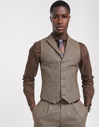 ASOS DESIGN slim suit suit vest in brown tweed
