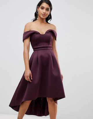 Bardot Asos Design ASOS Cold Shoulder Dip Back Midi Prom Dress-Purple