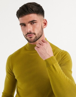 Asos DESIGN muscle fit merino wool turtle neck jumper in mustard