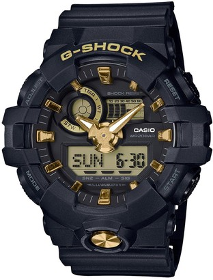 Casio G Shock Black and Gold Detail Chronograph Dial Black Resin Strap Mens Watch