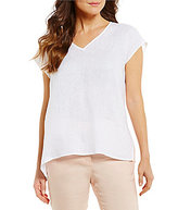 Antonio Melani Wilson Linen Shirting V-Neck Top