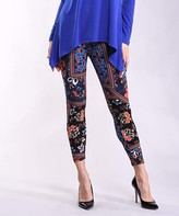 Lbisse Women's Leggings Multi - Blue & Black Floral Patchwork Print Leggings - Women & Plus