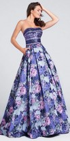 Ellie Wilde for Mon Cheri Strapless Sequin Floral A-line Ball Gown