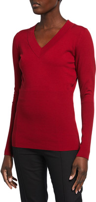 Alaia V-Neck Fitted Wool-Blend Sweater