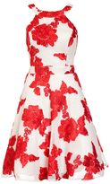 Quiz Cream And Red Flower Applique Prom Dress