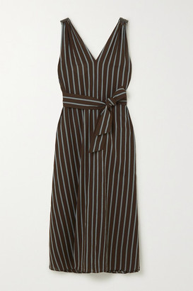 Brunello Cucinelli Belted Bead-embellished Striped Gauze Maxi Dress - Dark brown