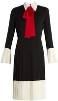 Gucci Colour-block neck-tie silk dress