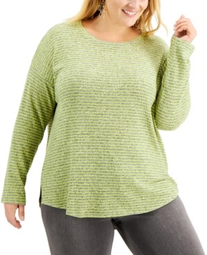 Style&Co. Style & Co Plus Size Hannah Striped Top, Created for Macy's