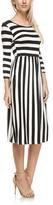 White & Black Stripe Pocket A-Line Dress