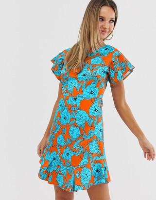 Closet London Closet frill sleeve & hem dress