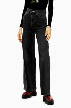 Topshop Womens Idol Washed Black Flare Jeans - Washed Black