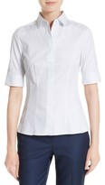 BOSS Petite Women's Bashini 2 Stripe Poplin Fitted Blouse