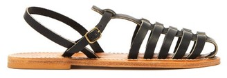 K. Jacques Adrien Caged Leather Slingback Sandals - Black