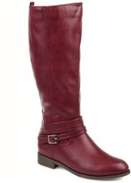 Brinley Co. Womens Comfort Wide Calf Strap Riding Boot