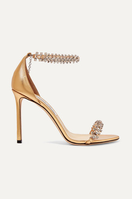 Jimmy Choo Shilo 100 Crystal-embellished Metallic Leather Sandals - Gold