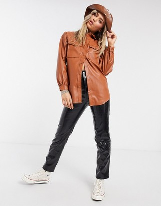 New Look utility leather look shacket in rust