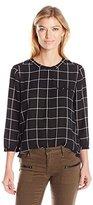 NYDJ Women's Geometric 3/4 Sleeve Henley Pleat Back Blouse