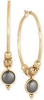 Lucky Brand Gold-Tone Beaded Stone Hoop Earrings