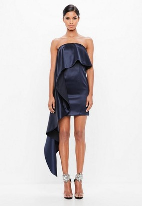 Missguided Navy Bonded Ruffle Satin Dress