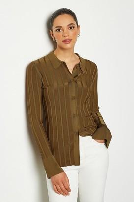 Collar Rib Knit Cardigan Top