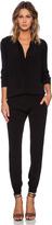 Monrow Crepe Long Sleeve Jumpsuit