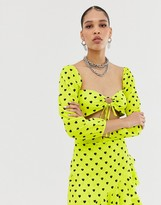 Bardot New Girl Order tie front crop top in heart print co-ord
