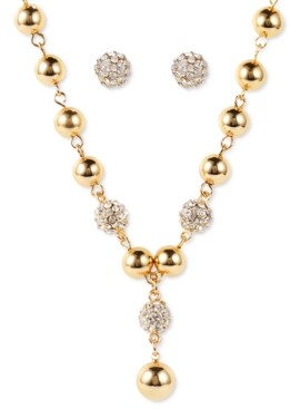 Charter Club Gold-Tone Bead & Pave Fireball Lariat Necklace & Stud Earrings Set, Created for Macy's