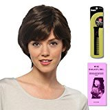 Sabrina (Human Hair) by Estetica, Wig Galaxy Hair Loss Booklet & Magic Wig Styling Comb/Metal Pick Combo (Bundle - 3 Items), Color Chosen: R6