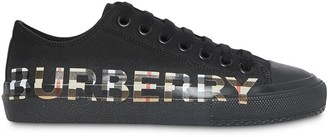 Burberry Vintage Check Logo Print Cotton Gabardine Sneakers