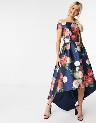 Chi Chi London hi low bardot midi dress in navy floral
