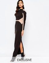 The 8th Sign Paneled Maxi Dress With Mesh Inserts