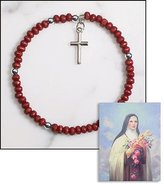 Gifts by Lulee Blessed By Pope Francis Saint Theresa Rose Scented Bracelet & St Theresa Prayer Card