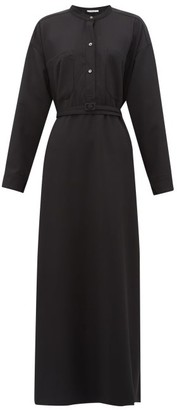 Katharine Hamnett Kath Belted Wool Maxi Dress - Womens - Black