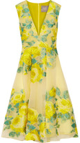 Lela Rose Pleated Floral Fil Coupé Organza Dress - Bright yellow