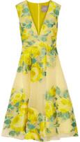 Lela Rose Pleated Floral Fil Coupé Organza Dress - US12