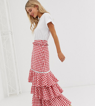Glamorous midi skirt with ruffle layers in gingham