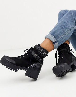 London Rebel chunky lace up hardware boots in black