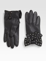 Studded Leather Bow Gloves