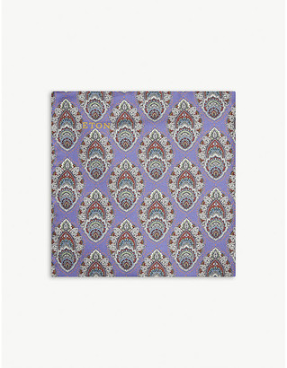 Eton Peacock-print silk pocket square